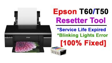 Epson T50,T60 Printer Resetter - Service Life Expired