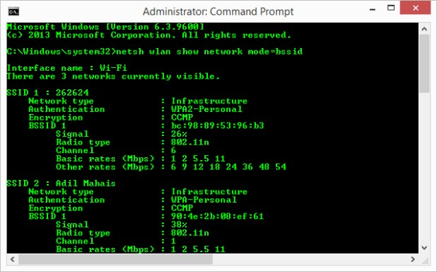 see wifi networks in cmd