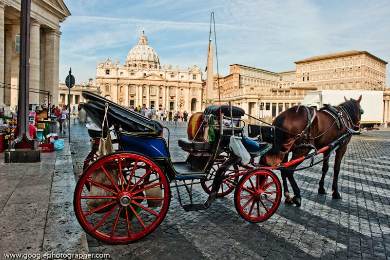 Horse Drawn Taxi Vatican Rome Italy Travel Photography