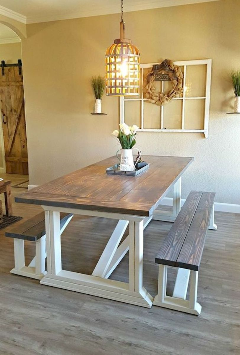 30 Best Farmhouse Table Dining Room Decor Ideas (11)