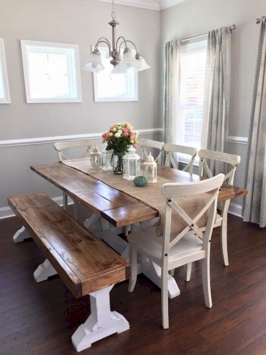 30 Best Farmhouse Table Dining Room Decor Ideas (15)