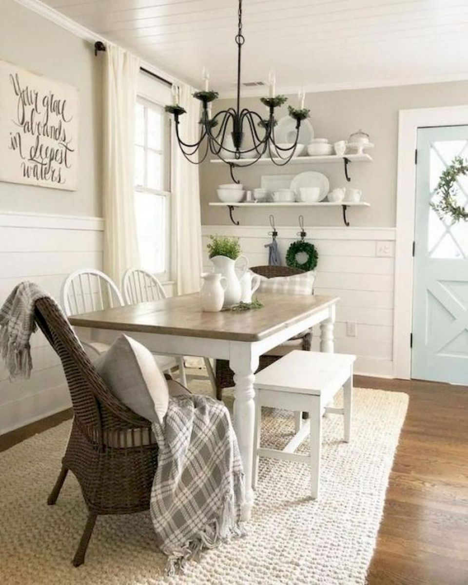 30 Best Farmhouse Table Dining Room Decor Ideas (29)