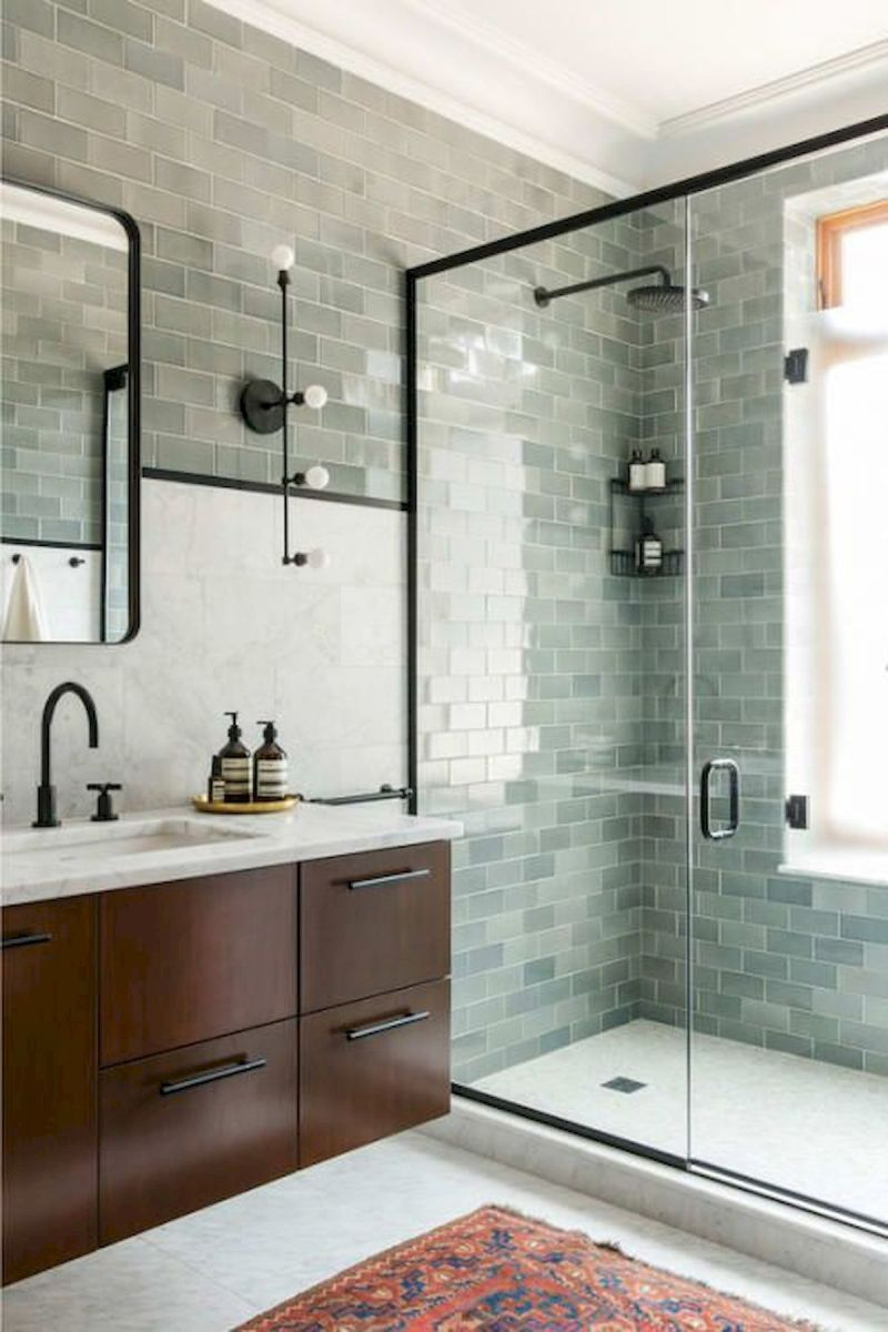 44 Suprising Farmhouse Bathroom Shower Decor Ideas And Remodel (24)