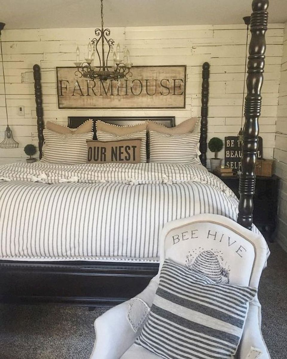 69 Best Farmhouse Bedding Decor Ideas And Remodel (40)