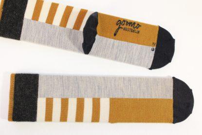 goomo.shop_ochre and natural superfine Australian Merino socks, made in Australia
