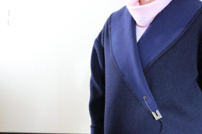 Cardi Navy front collar