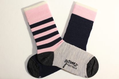 goomo.shop_pink and navy striped superfine Australian Merino socks Adult size