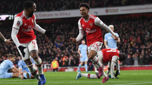 Arsenal Reiss Nelson celebrates goal