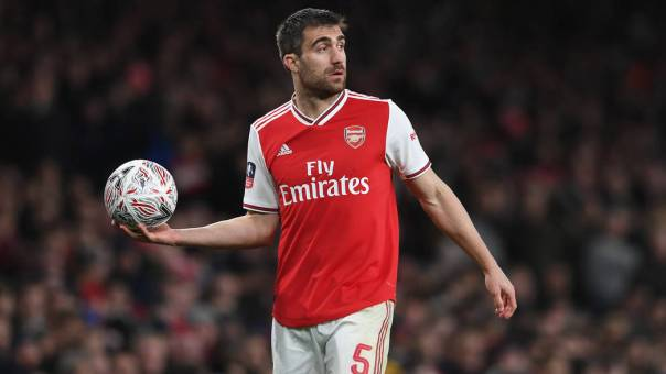 Sokratis with the ball
