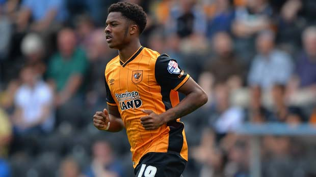 HULL, ENGLAND - AUGUST 08: Chuba Akpom of Hull City during the Sky Bet Championship match between Hull City and Huddersfield Town at KC Stadium on August 8, 2015 in Hull, England. (Photo by Tony Marshall/Getty Images)