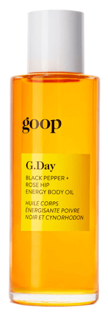 goop Beauty G.Day Black Pepper + Rose Hip Energy Body Oil, goop, $60