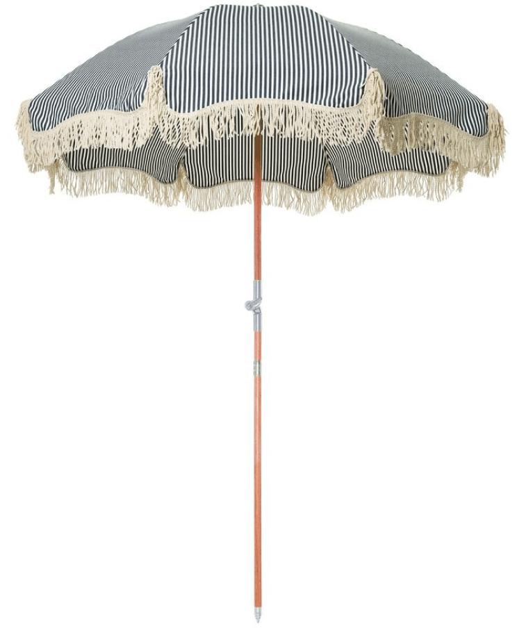 Business & Pleasure Co. Premium Beach Umbrella in Laurens Navy Stripe, goop, $299