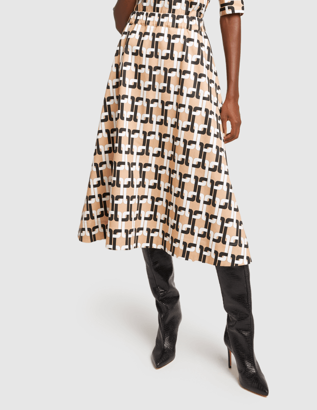 model wearing g label evie midlength printed skirt