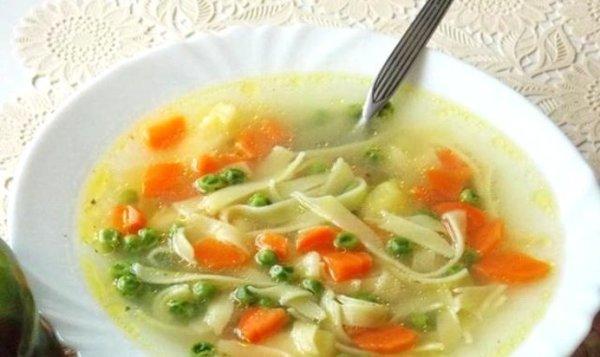 Простой Рецепт супа с лапшой и зеленым горошком пошагово с ...