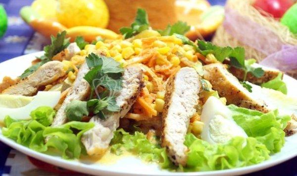 Простой Рецепт салата с жареной куриной грудкой «Жасмин ...