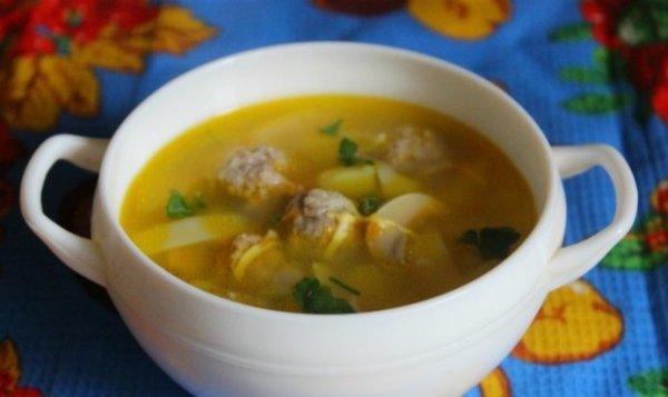 Простой Рецепт супа с мясными фрикадельками, лапшой и ...