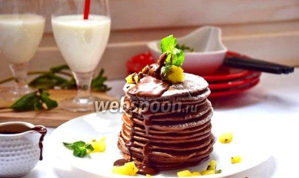 Простой Рецепт шоколадных панкейков с кунжутом и яблочно ...