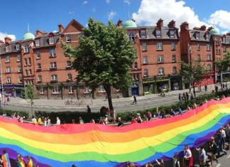 Rainbow Banner in Dublin Pride 2017 on Patrick's Street