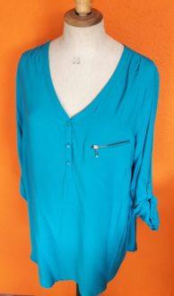 Turquoise blouse Miss Etam maat 44,goosvintage,vintage,retro,goosvintagevught