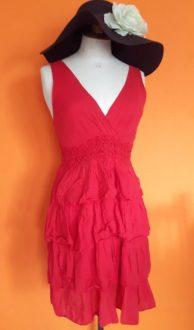 rood zomerjurkje Terra di Siena,goosvintage,rood zomerjurkjes,second hand dress,goosvintagevught