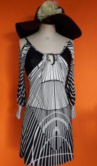 vintage jurk zwart wit Striking,goosvintage