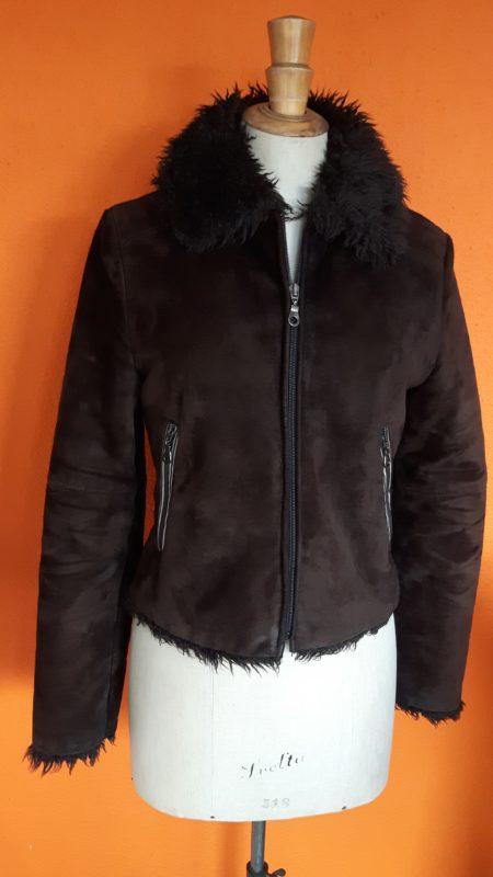 Vintage suede bruine jas MNG,goosvintage