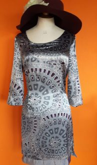 Vintage grijze glans jurk Mandarin & Mint maat 36,Goosvintage