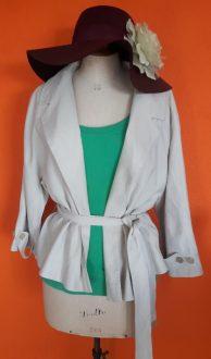 Vintage beige linnen en zijde jasje Claudia Sträter maat 40,Goosvintage
