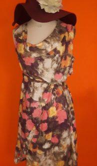Vintage a-symmetrische linnen jurk DIDI ism maat S,Goosvintage