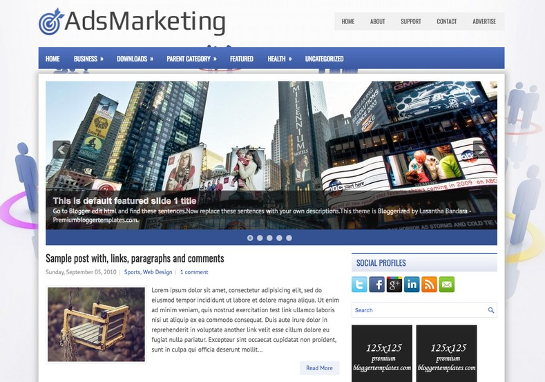 AdsMarketing 2 Columns Blogger Template. Blogger Themes. Free Blogspot templates for your blogger blog. Best suitable for news blog templates. Ads ready blogspot templates help for add adsense ad code and easily showing adsence ads in your blog. Adapted from WordPress templates are converted from WordPress themes. It is help for take your rich. Blogger magazine template specially designed for magazine blogs. The writers can utilize this themes for take blog attractive to users. Elegant themes are more used themes in most of the blogs. Use minimalist blog templates for rich look for your blog. Free premium blogger themes means, themes authors release two types of themes. One is premium another one is free. Premium templates given for cost but free themes given for no cost. You no need pay From California, USA. $10 USD, or $20 USD and more. But premium buyers get more facilities from authors But free buyers. If you run game or other animation oriented blogs, and you can try with Anime blog templates. Today the world is fashion world. So girls involve to the criteria for make their life fashionable. So we provide fashion blogger themes for make your fashionable. News is most important concept of the world. Download news blogger templates for publishing online news. You can make your blog as online shopping store. Get Online shopping store blogger template to sell your product. Navigation is most important to users find correct place. Download drop down menu, page navigation menu, breadcrumb navigation menu and vertical dropdown menu blogspot themes for free. Google Guide to blogging tips and tricks for bloggers. Google bloggers can get blogspot trick and tips for bloggers. Blog templates portfolio professional blogspot themes, You can store your life moments with your blogs with personal pages templates. Video and movie blogs owners get amazing movie blog themes for their blogs. Business templates download. We publish blogger themes for photographers. Photographers eas