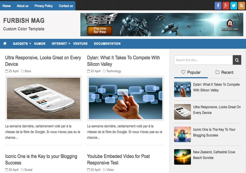 Furbish Mag Blogger Template. Best quality free blogger templates 2017 for blog with blogger. Download best magazine and news web blog themes with amazing layouts. Furbish Mag Blogger Template.