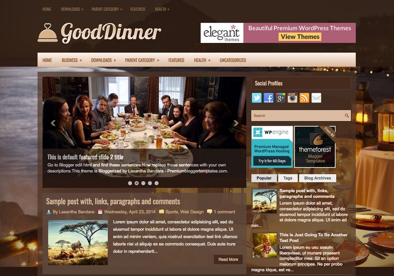 GoodDinner Dark Blogger Template. Blogger Themes. Free Blogspot templates for your blogger blog. Best suitable for news blog templates. Best Ads ready blogspot templates help for add adsense ad code and easily showing adsence ads in your blog. Adapted from WordPress templates are converted from WordPress themes. It is help for take your rich. Blogger magazine template specially designed for magazine blogs. The writers can utilize this themes for take blog attractive to users. Elegant themes are more used themes in most of the blogs. Use minimalist blog templates for rich look for your blog. Free premium blogger themes means, themes authors release two types of themes. One is premium another one is free. Premium templates given for cost but free themes given for no cost. You no need pay From California, USA. $10 USD, or $20 USD and more. But premium buyers get more facilities from authors But free buyers. If you run game or other animation oriented blogs, and you can try with Anime blog templates. Today the world is fashion world. So girls involve to the criteria for make their life fashionable. So we provide fashion blogger themes for make your fashionable. News is most important concept of the world. Download news blogger templates for publishing online news. You can make your blog as online shopping store. Get Online shopping store blogger template to sell your product. Navigation is most important to users find correct place. Download drop down menu, page navigation menu, breadcrumb navigation menu and vertical dropdown menu blogspot themes for free. Google Guide to blogging tips and tricks for bloggers. Google bloggers can get blogspot trick and tips for bloggers. Blog templates portfolio professional blogspot themes, You can store your life moments with your blogs with personal pages templates. Video and movie blogs owners get amazing movie blog themes for their blogs. Business templates download. We publish blogger themes for photographers. Photographers easily share photos via photography blog themes. St valentine Christmas Halloween templates. Download Slideshow slider templates for free. Under construction coming soon custom blogspot template. Best beautiful high quality Custom layouts Blog templates from templateism, SoraTemplates, templatetrackers, simple, cute free premium professional unique designs blog themes blogspot themes. Seo ready portfolio anime fashion movie movies health custom layouts best download blogspot themes simple cute free premium professional unique designs xml html code html5.