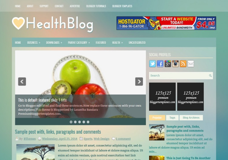 HealthBlog Blogger Template. Blogger Themes. Best suitable for news blog templates. Ads ready blogspot templates help for add adsense ad code and easily showing adsence ads in your blog. Adapted from WordPress templates are converted from WordPress themes. It is help for take your rich. Blogger magazine template specially designed for magazine blogs. The writers can utilize this themes for take blog attractive to users. Elegant themes are more used themes in most of the blogs. Minimalist blog templates. Free premium blogger themes means, themes authors release two types of themes. One is premium another one is free. Premium templates given for cost but free themes given for no cost. You no need pay From California, USA. $10 USD, or $20 USD and more. But premium buyers get more facilities from authors But free buyers. If you run game or other animation oriented blogs, and you can try with Anime blog templates. Today the world is fashion world. So girls involve to the criteria for make their life fashionable. So we provide fashion blogger themes for make your fashionable. News is most important concept of the world. Download news blogger templates for publishing online news. You can make your blog as online shopping store. Get Online shopping store blogger template to sell your product. Navigation is most important to users find correct place. Download drop down menu, page navigation menu, breadcrumb navigation menu and vertical dropdown menu blogspot themes for free. Google Guide. Blogging tips and Tricks for bloggers. Google bloggers can get blogspot trick and tips for bloggers. Blog templates portfolio professional blogspot themes, You can store your life moments with your blogs with personal pages templates. Video and movie blogs owners get amazing movie blog themes for their blogs. Business templates download. We publish blogger themes for photographers. Photographers easily share photos via photography blog themes. St valentine Christmas Halloween templates. Dow