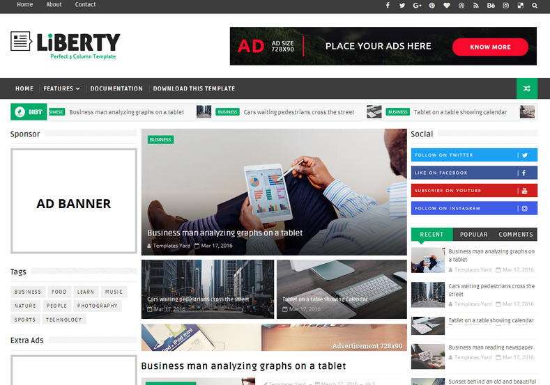 Liberty 3 Column Blogger Template is seo ready responsive template and perfect for all kind of niche