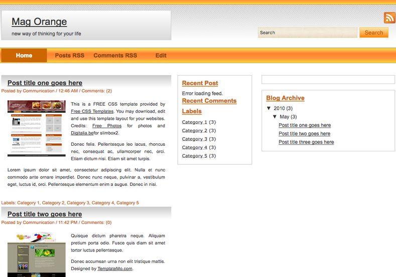 Mag Orange Blogger Template