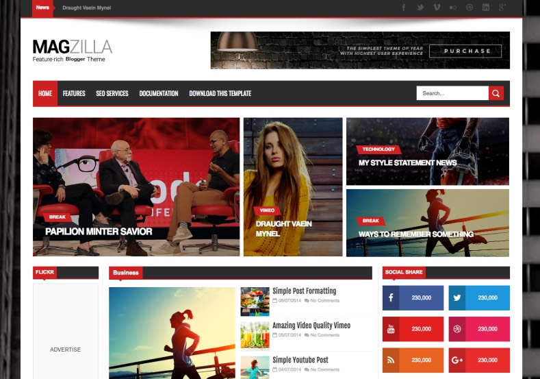 Mag Zilla Blogger Template. Free blogger template for magazine blogs and more. Best multipurpose Mag Zilla Blogger Template. Download latest templates for free.