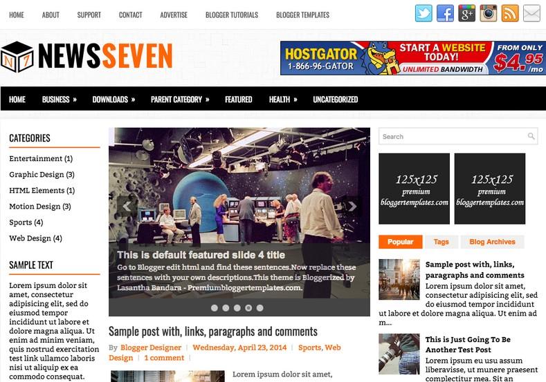 NewsSeven Blogger Template for news blogger blogs 2018
