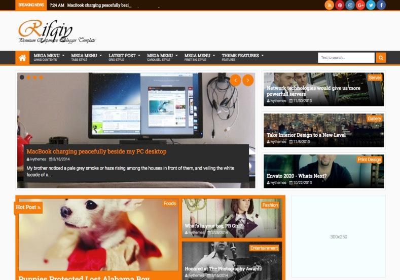 Rifqy Blogger Template 2015. Buy premium themes