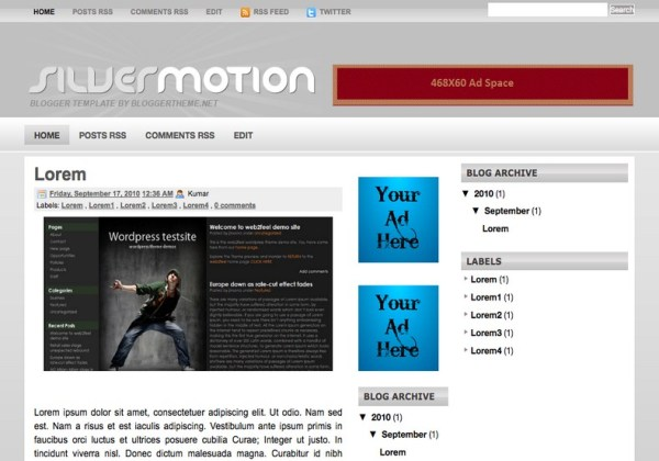 Silver Motion Blogger Template 2014 Free Download