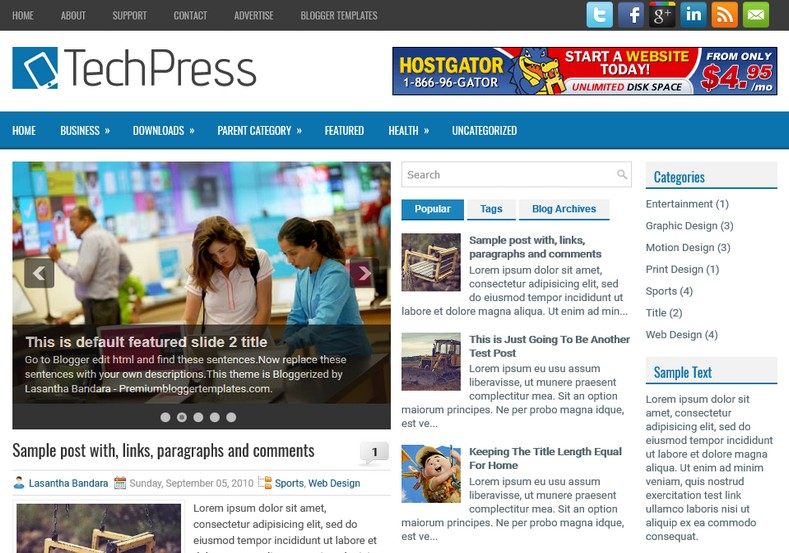 TechPress Technology Blogger Template. Blogger Themes. Free Blogspot templates for your blogger blog. Best suitable for news blog templates. Ads ready blogspot templates help for add adsense ad code and easily showing adsence ads in your blog. Adapted from WordPress templates are converted from WordPress themes. It is help for take your rich. Blogger magazine template specially designed for magazine blogs. The writers can utilize this themes for take blog attractive to users. Elegant themes are more used themes in most of the blogs. Use minimalist blog templates for rich look for your blog. Free premium blogger themes means, themes authors release two types of themes. One is premium another one is free. Premium templates given for cost but free themes given for no cost. You no need pay From California, USA. $10 USD, or $20 USD and more. But premium buyers get more facilities from authors But free buyers. If you run game or other animation oriented blogs, and you can try with Anime blog templates. Today the world is fashion world. So girls involve to the criteria for make their life fashionable. So we provide fashion blogger themes for make your fashionable. News is most important concept of the world. Download news blogger templates for publishing online news. You can make your blog as online shopping store. Get Online shopping store blogger template to sell your product. Navigation is most important to users find correct place. Download drop down menu, page navigation menu, breadcrumb navigation menu and vertical dropdown menu blogspot themes for free. Google Guide to blogging tips and tricks for bloggers. Google bloggers can get blogspot trick and tips for bloggers. Blog templates portfolio professional blogspot themes, You can store your life moments with your blogs with personal pages templates. Video and movie blogs owners get amazing movie blog themes for their blogs. Business templates download. We publish blogger themes for photographers. Photographers easil