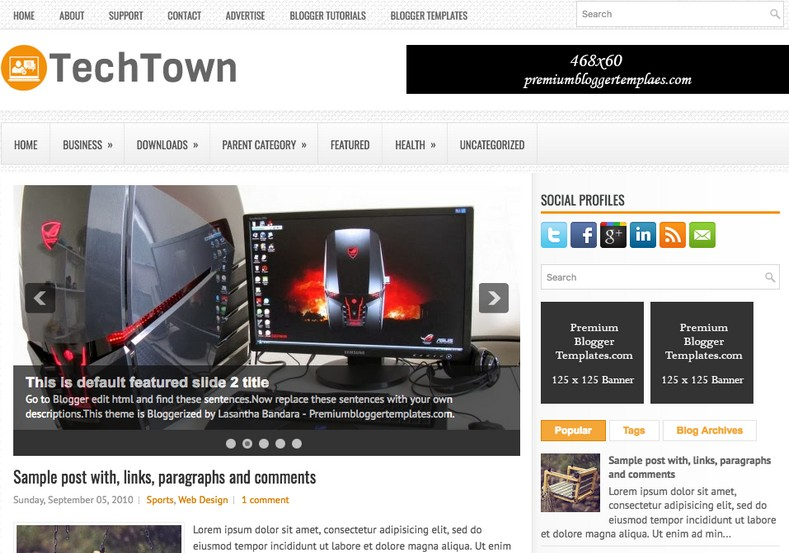 TechTown White Blogger Template. Blogger Themes. Free Blogspot templates for your blogger blog. Best suitable for news blog templates. Ads ready blogspot templates help for add adsense ad code and easily showing adsence ads in your blog. Adapted from WordPress templates are converted from WordPress themes. It is help for take your rich. Blogger magazine template specially designed for magazine blogs. The writers can utilize this themes for take blog attractive to users. Elegant themes are more used themes in most of the blogs. Use minimalist blog templates for rich look for your blog. Free premium blogger themes means, themes authors release two types of themes. One is premium another one is free. Premium templates given for cost but free themes given for no cost. You no need pay From California, USA. $10 USD, or $20 USD and more. But premium buyers get more facilities from authors But free buyers. If you run game or other animation oriented blogs, and you can try with Anime blog templates. Today the world is fashion world. So girls involve to the criteria for make their life fashionable. So we provide fashion blogger themes for make your fashionable. News is most important concept of the world. Download news blogger templates for publishing online news. You can make your blog as online shopping store. Get Online shopping store blogger template to sell your product. Navigation is most important to users find correct place. Download drop down menu, page navigation menu, breadcrumb navigation menu and vertical dropdown menu blogspot themes for free. Google Guide to blogging tips and tricks for bloggers. Google bloggers can get blogspot trick and tips for bloggers. Blog templates portfolio professional blogspot themes, You can store your life moments with your blogs with personal pages templates. Video and movie blogs owners get amazing movie blog themes for their blogs. Business templates download. We publish blogger themes for photographers. Photographers easily shar