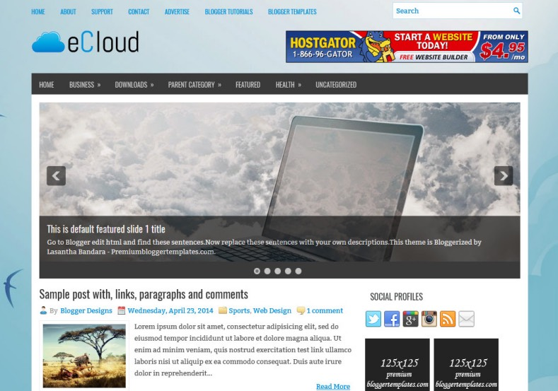 eCloud Blogger Template. Blogger Themes. Best suitable for news blog templates. Ads ready blogspot templates help for add adsense ad code and easily showing adsence ads in your blog. Adapted from WordPress templates are converted from WordPress themes. It is help for take your rich. Blogger magazine template specially designed for magazine blogs. The writers can utilize this themes for take blog attractive to users. Elegant themes are more used themes in most of the blogs. Minimalist blog templates. Free premium blogger themes means, themes authors release two types of themes. One is premium another one is free. Premium templates given for cost but free themes given for no cost. You no need pay From California, USA. $10 USD, or $20 USD and more. But premium buyers get more facilities from authors But free buyers. If you run game or other animation oriented blogs, and you can try with Anime blog templates. Today the world is fashion world. So girls involve to the criteria for make their life fashionable. So we provide fashion blogger themes for make your fashionable. News is most important concept of the world. Download news blogger templates for publishing online news. You can make your blog as online shopping store. Get Online shopping store blogger template to sell your product. Navigation is most important to users find correct place. Download drop down menu, page navigation menu, breadcrumb navigation menu and vertical dropdown menu blogspot themes for free. Google Guide. Blogging tips and Tricks for bloggers. Google bloggers can get blogspot trick and tips for bloggers. Blog templates portfolio professional blogspot themes, You can store your life moments with your blogs with personal pages templates. Video and movie blogs owners get amazing movie blog themes for their blogs. Business templates download. We publish blogger themes for photographers. Photographers easily share photos via photography blog themes. St valentine Christmas Halloween templates. Downloa