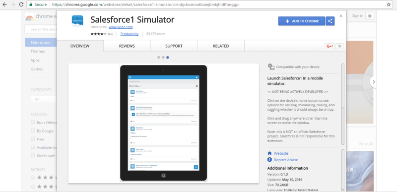 salesforce1 simulator