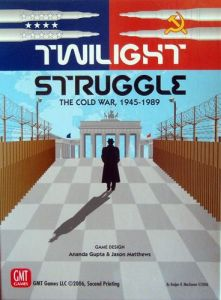 Twilight Struggle board game box - which came top of the combined 'which board game to buy' list