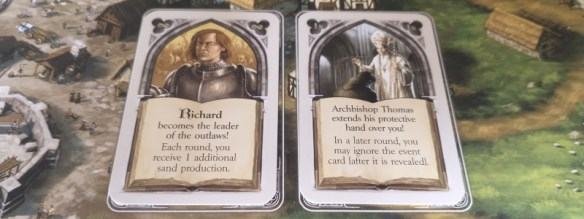 Character cards from the pillars of the earth board game
