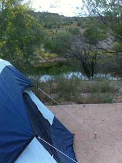 view of one of the smaller coves from the tent