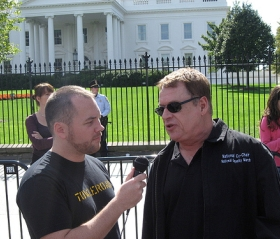Cleve Jones interviewed by Towleroad.com in front of the White House during the October 2009 National Equality March. Photo courtesy Michael Goff, via Flickr. Licensed under Creative Commons.
