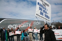 2010 Equality Riders were met with protests at their first stop at Valley Forge Christian College in Phoenixville, Penn., on March 5.