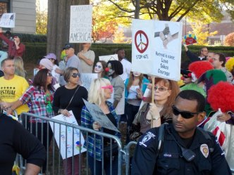 Counter-protesters outnumbered neo-Nazi and KKK protesters.
