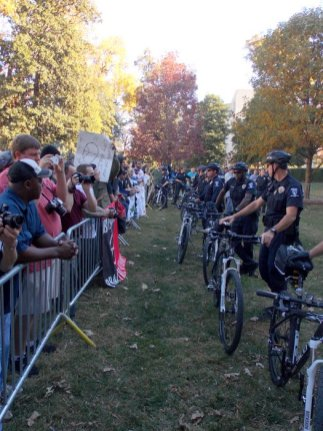 Police kept the two protesting groups divided.